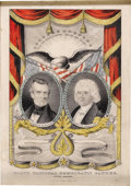 """Political:3D & Other Display (pre-1896), Polk & Dallas Grand National Banner Print. 9.5"""" x 13.75"""",framed under glass to an overall size of 11.5"""" x 15.5"""", handcolor..."""