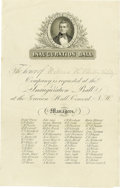 "Political:Inaugural (1789-present), James K. Polk: A Rare Engraved Invitation for a March 4th, 1845""Satellite"" Inaugural Ball in Concord, New Hampshire. While ..."
