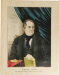 """Political:3D & Other Display (pre-1896), Rare Lewis Cass Color Lithograph from His 1848 Presidential Campaign, 11"""" x 14"""", published by Kelloggs & Comstock, New York ..."""