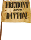 "Political:3D & Other Display (pre-1896), Rare Fremont & Dayton Campaign Flag, 13"" x 11"" on 19"" wooden stick, 1856. Coarse white linen imprinted with ""Fremont and Day..."