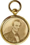 Political:Ferrotypes / Photo Badges (pre-1896), Lincoln & Hamlin: A Most Unusual Locket or Fob Picturing Both.We have never seen this unique item before and one would be t...