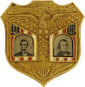 Political:Ferrotypes / Photo Badges (pre-1896), Lincoln & Johnson: The Monumentally Important Jugate PinbackFerrotype Badge from the 1864 Election. It has long been a trad...
