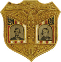 Lincoln & Johnson: The Monumentally Important Jugate Pinback Ferrotype Badge from the 1864 Election. It has long...