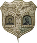 Political:Ferrotypes / Photo Badges (pre-1896), George B. McClellan: An Exceedingly Rare Jugate Ferrotype Badgefrom the 1864 Campaign. Pinback photographic badges first ap...