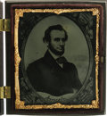 "Political:Miscellaneous Political, Abraham Lincoln: A Spectacular Ruby Ambrotype of a Printed Lincoln Portrait. ""Lincoln"" appears below his bearded bust, an im..."