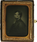 Political:Miscellaneous Political, Abraham Lincoln: An Ambrotype-like Image on Glass. The image is one of Lincoln's most famous, used by Victor D. Brenner as t...