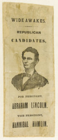 """Political:Ribbons & Badges, Classic Lincoln & Hamlin Wide Awakes 1860 Campaign Ribbon, white silk, 2.5"""" x 7"""". A dominant bust of Lincoln is accompanied ..."""