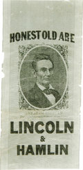 """Political:Ribbons & Badges, A Fine 1860 Lincoln Silk Campaign Ribbon With Great """"Honest Old Abe"""" Slogan. This desirable variety from the Joe Brown Col..."""