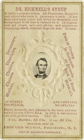 Photography:CDVs, Abraham Lincoln: An Outstanding Civil War Era CDV with Advertising. An oval albumen portrait of Lincoln set into an embossed...