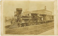Photography:CDVs, Lincoln Funeral Train CDV. A carte de visite of President Abraham Lincoln's funeral train, this image was made by J. Car...