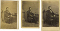 """Photography:CDVs, Three Variant Views of the Famous 1861 """"Ink Well"""" Abraham Lincoln Pose. Abraham Lincoln posed for the famous """"Ink Well"""" port... (Total: 3 items)"""
