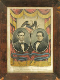 """Political:3D & Other Display (pre-1896), Lincoln & Hamlin: A Sought After Currier """"Grand NationalBanner"""" Jugate Campaign Print. Currier began this popular seriesin..."""