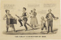 """Political:Miscellaneous Political, Great 1860 Lincoln Political Cartoon Print by Currier Lincoln isshown dancing and """"riding the rail"""" labelled """"Republican Pl..."""