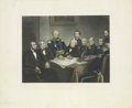 """Military & Patriotic:Civil War, Civil War Engraving -- """"A Council of War in '61"""" The President's House, Washington, D.C., President Lincoln and Members of..."""