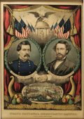 """Political:3D & Other Display (pre-1896), McClellan & Pendleton Grand National Banner Lithograph. 9.5"""" x 13.5"""", framed under glass to an overall size of 12.25"""" x 16.2..."""