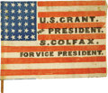 Political:3D & Other Display (pre-1896), Grant and Colfax: A Rare Cloth Campaign Flag on Its Original Stick.Campaign flags are among the most desired of 19th centur...