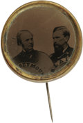 "Political:Ferrotypes / Photo Badges (pre-1896), Dramatic 1868 Seymour & Blair Jugate. An 18mm uniface jugateferrotype button with ""Seymour"" and ""Blair"" titled portraits. ..."