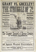 Political:Posters & Broadsides (pre-1896), Anti-Horace Greeley: A Fantastic Large 1872 Campaign Poster Savaging His Candidacy. This poster advertises for sale a book t...