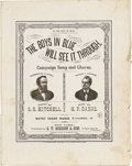 """Political:Small Paper (pre-1896), 1876 Hayes and Wheeler Campaign Sheet Music Titled The Boys in BlueWill See It Through, this """"Campaign Song and Chorus""""..."""