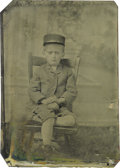 Photography:Tintypes, James G. Blaine: Tintype of a Youthful Supporter A young lad ofabout 8 is shown wearing a typical political parade cap with...
