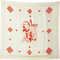 Political:Textile Display (pre-1896), Cleveland & Thurman: 1888 Silk Scarf With Jugate Portraits. Amost unusual format with diagonal portraits which we have not ...