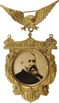 "Political:Ribbons & Badges, Rare Benjamin Harrison Badge With Photograph on Glass, 2.5"" x 4"", 1888. A gilt brass frame emblazoned ""Republican League"" an..."
