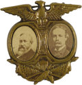 Political:Ferrotypes / Photo Badges (pre-1896), Jugate Harrison & Reid Pin from the 1892 Presidential Campaign.A 28mm stamped brass frame dominated by an American eagle en...