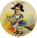 "Political:Pinback Buttons (1896-present), William McKinley: The Legendary 1896 ""Hobby Horse"" Cartoon Button.This spectacular and very rare design has always been a ""..."