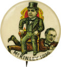 """Political:Pinback Buttons (1896-present), William McKinley: A Colorful 7/8"""" Cartoon Button Showing Him Sitting on a Struggling William Jennings Bryan. The same manufa..."""