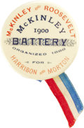 "Political:Ribbons & Badges, McKinley & Roosevelt: Rare 1900 Ribbon Badge with 1888 Tie-in. 1¾"" button with ""McKinley Battery"" and 1888 Harrison & Morton..."