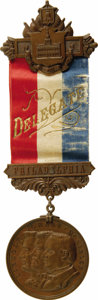 Political:Ribbons & Badges, William McKinley: An Impressive Large Delegate Badge from the 1900 Republican National Convention at Philadelphia. The metal...