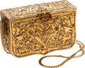 Luxury Accessories:Bags, Judith Leiber Gold Jeweled Vintage Box Evening Bag. ...