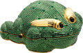 Luxury Accessories:Bags, Judith Leiber Green Frog Full Bead Minaudiere Evening Bag. ...