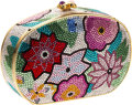 Luxury Accessories:Bags, Judith Leiber Colorful Spring Flowers Full Bead Box Evening Bag....