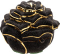 Luxury Accessories:Bags, Judith Leiber Rare Black Rose Full Bead Minaudiere Evening Bag. ...