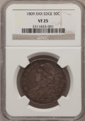 Bust Half Dollars: , 1809 50C Normal Edge VF25 NGC. NGC Census: (0/1). PCGS Population(23/438). Mintage: 1,405,810. Numismedia Wsl. Price for p...