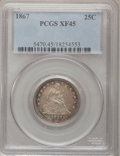 Seated Quarters, 1867 25C XF45 PCGS....