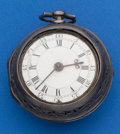 Timepieces:Pocket (pre 1900) , Andrew Marchant London Early Quarter Repeating Verge Fusee, SilverPair Case, circa 1760's. ...