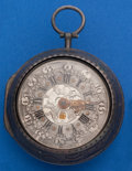 Timepieces:Pocket (pre 1900) , G. Leekey London Signed Early Verge Fusee With Date, Repousse Case,circa 1770. ...