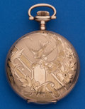 Timepieces:Pocket (post 1900), Elgin 16 Size, Sharp Hunters Case With Fancy Dial. ...
