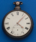 Timepieces:Pocket (pre 1900) , Swiss Early Lever Fusee Silver Pair Case. ...