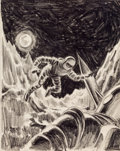 Pulp, Pulp-like, Digests, and Paperback Art, VIRGIL FINLAY (American, 1914-1971). Preliminary study for OneAgainst the Moon, 1956. Charcoal and pencil on board. 8.5...