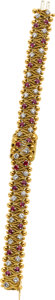 Estate Jewelry:Watches, LeCoultre Lady's Diamond, Ruby, Gold Covered Dial Wristwatch,Retailed by Van Cleef & Arpels. ...