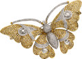 Estate Jewelry:Brooches - Pins, Colored Diamond, Diamond, Gold Clip-Brooch. ...