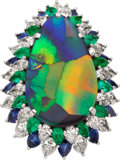 Estate Jewelry:Rings, Black Opal, Diamond, Sapphire, Emerald, Platinum Ring . ...