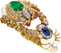 Estate Jewelry:Bracelets, Diamond, Emerald, Sapphire, Ruby, Enamel, Gold Bracelet, DavidWebb. ...