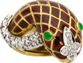 Estate Jewelry:Rings, Diamond, Emerald, Enamel, Gold Ring, David Webb. ...