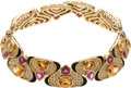 Estate Jewelry:Necklaces, Pink Tourmaline, Citrine, Diamond, Gold Necklace. ...