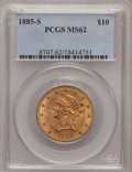 Liberty Eagles: , 1885-S $10 MS62 PCGS. PCGS Population (235/71). NGC Census:(204/60). Mintage: 228,000. Numismedia Wsl. Price for problem f...