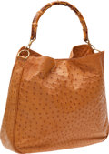 Luxury Accessories:Bags, Gucci Signature Cognac Ostrich Bamboo Handle Hobo Bag. ...
